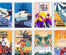 Travel banners templates colorful vector