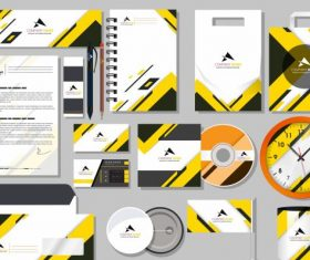Branding idendity sets modern bright yellow white vector