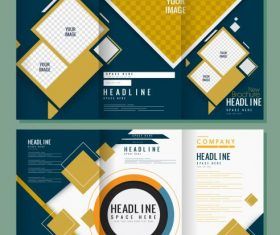 Corporate brochure templates modern trifold abstract vector