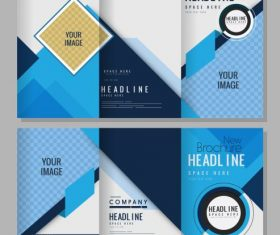 Brochure templates bright abstract modern trifold shape vector
