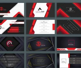 Business card templates black and red vector