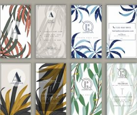 Business card templates classical leaves vertical vector