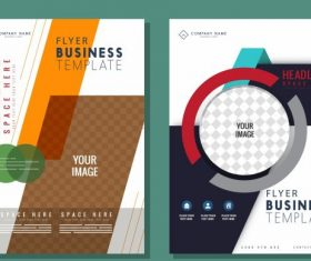 Business flyer templates bright colorful modern vector