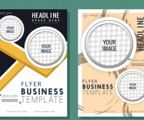 Corporate flyer templates modern checkered circles vector