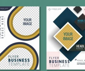 Corporate flyer templates modern flat checkered set vector