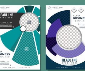 Corporate flyer templates modern checkered geometric vector