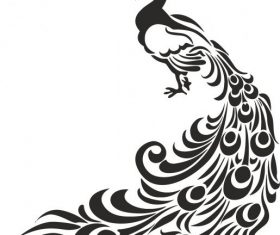 Peacock stencil art design vector