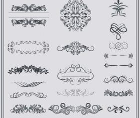 Documents decorative elements classical european symmetric curves shiny vector