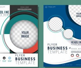 Business flyer templates colorful modern checkered circles illustration vector