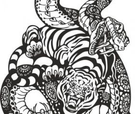 Snake and tiger fight art vector