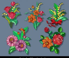 Flowers colorful classical vector design