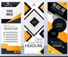 Corporate banner templates modern abstract technology vertical vector graphics