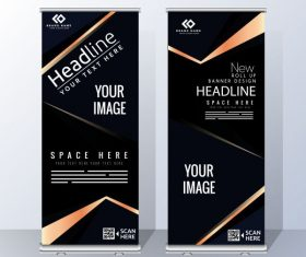 Business poster templates modern dark rolled up vector set