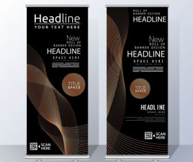 Corporate banners vertical modern dark dynamic illustration vector