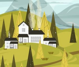Mountain countryside landscape painting colored vector