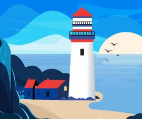 Seaside landscape painting colorful vector material