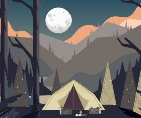 Camping painting mountain scene tent vector graphics