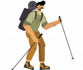 Hiking man cartoon character vector