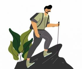 Hiking man climbing mountain vector
