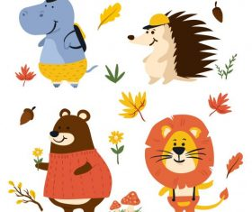 Autumn elements animals cute stylized vector material