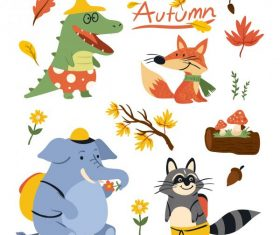 Autumn icons cute colored stylized cartoon design vectors