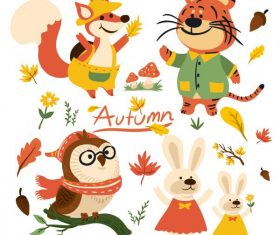 Autumn elements and cute animals plants vector