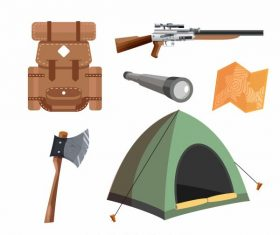 Hunting job elements personal utensils vector set