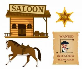 Cowboy elements saloon horse medal wanted vector