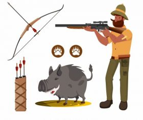 Hunter elements armed man pig vector