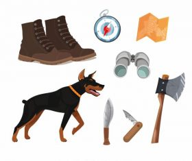 Hunting job elements dog personal tools vector
