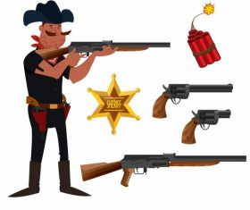 Cowboy elements sheriff weapons cartoon vector design