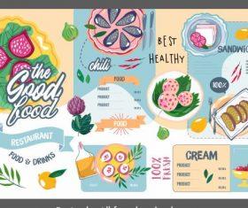 Restaurant menu template colorful flat retro handdrawn vector