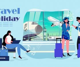 Travel background tourists departure lounge airport vector