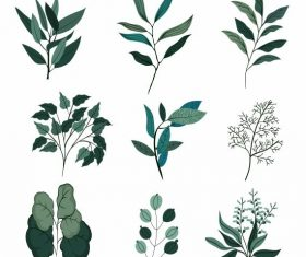 Leaf icons classical green handdrawn vector