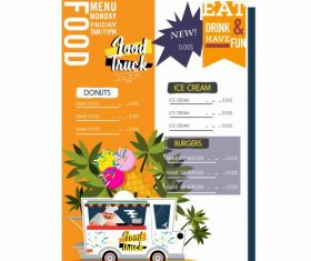 Menu template food truck ice cream tree vector