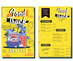 Menu template food truck colorful vectors material