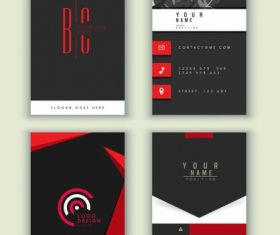 Business cards templates dark black red vector set