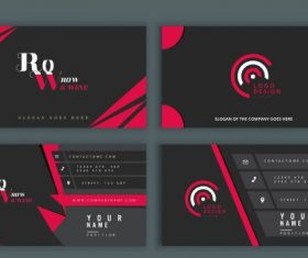 Business cards templates modern black red vector