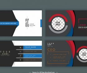 Business card templates modern dark vector