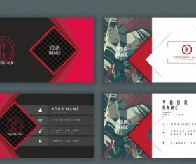 Business card templates leaves geometric vector
