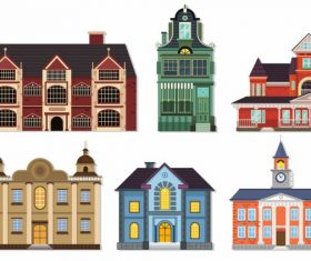 Buildings icons european architecture vector