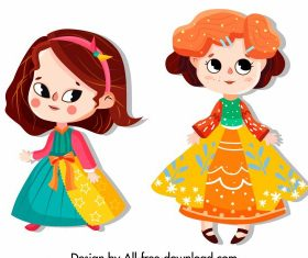 Baby girl icons colorful costumes cute vector