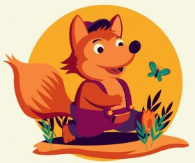 Baby fox cute stylized cartoon character vector