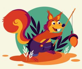Squirrel cute stylized cartoon character vector