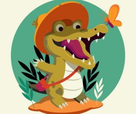 Alligator funny stylized cartoon vector graphics