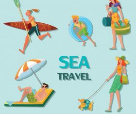Sea travel icons joyful people cartoon characters vector