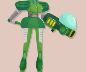 Space warrior woman modern armor vector