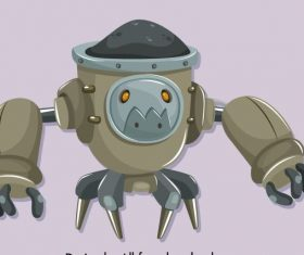 Warrior robot modern grey cartoon character vector