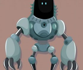Warrior robot modern frightening appearance design vector