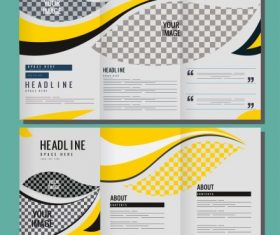 Corporate brochure templates bright curves vector